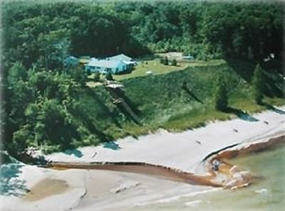 Aerial View from 1998 - stairs lead to deeded beach north of the creek