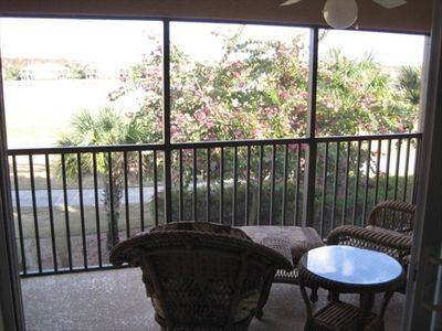 back lanai with beautiful sunrise views overlooking the golf course