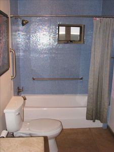 Bath w/ recycled glass tile