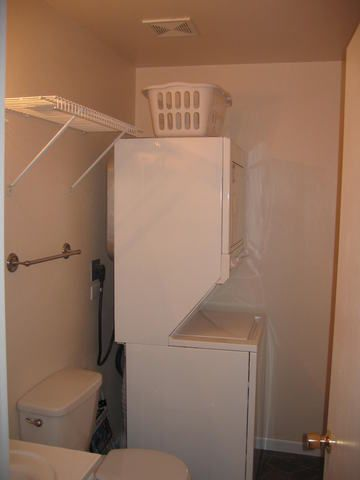 Main floor bathroom with laundry