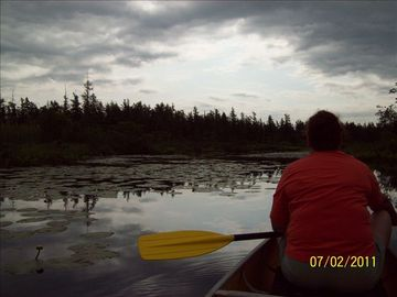 Canoeing on the Little Platte Lake. It's 100 yards from your front door.