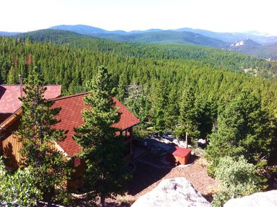 Summer- Overlooking the vast Timber Ranch Property and a portion of the home.