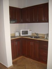 Punta Cana studio photo - Kitchen with fridge, microwave oven, toaster, coffee maker and 4-ring burner .