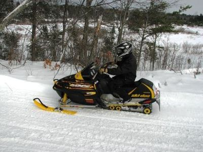 Snowmobile trails down the road from the cabin for easy access.