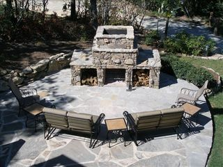Lake Toxaway house photo - Fire Pit Sitting Area near Jacuzzi with great view of waterfall!