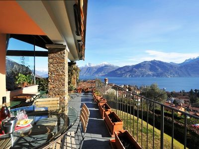 Menaggio villa rental - Fabulous private covered balcony terrace