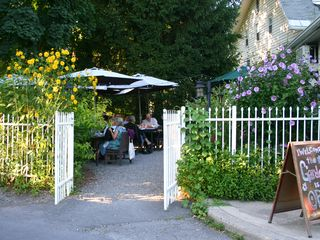 Woodstock studio photo - Outdoor cafe in a garden setting on the Village Green