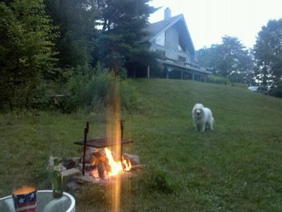 Windham chalet rental - The firepit (and my dog)
