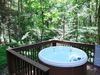 Maggie Valley cabin photo - Relaxing Hot Tub with view of the creeks.