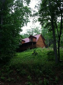 Cathy's Cabin is nestled in the trees. You might see a variety of wildlife here!