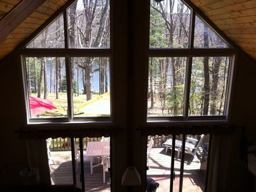 Thayerville house rental - View from great room and loft. 3-level decks and 50 steps to private dock.