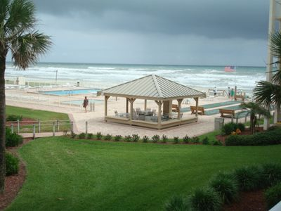 New Smyrna Beach condo rental - View from your balcony of Atlantic Ocean and pool area. Enjoy the breeze.