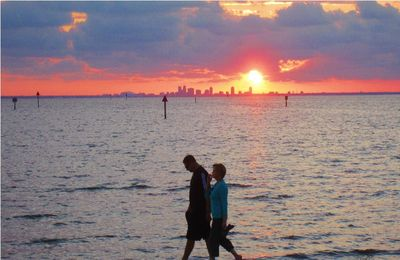 Sunset at Bahia beach, with view of St.Pete Skyline , Tampa Bay