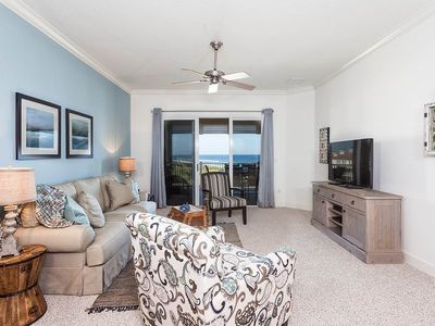 The spacious living area includes HDTV and sleeper sofa - Perfect for entertaining, the living room connects to the long, breezy balcony via a sliding-glass door. Great ocean and golf course views are yours from this room!