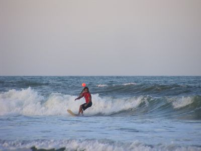 "Daytona Beach house rental - A good day for surf at the end of our street ""gnarly dude"""