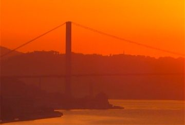 sunrise view of Bosphorus Bridge from salon and master bedroom