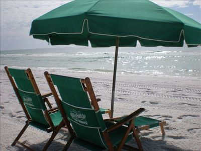Umbrella and two chairs come with condo rental (in season).