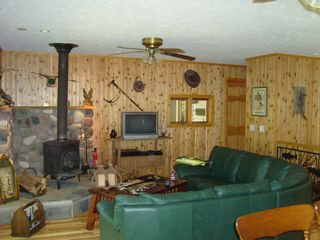 Crystal Mountain, Thompsonville cottage photo - Living room with a Wood Stove and HD TV and Stereo