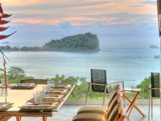 Manuel Antonio villa photo - The spectacular Dining Terrace looking out to Cathedral Point (National Park)