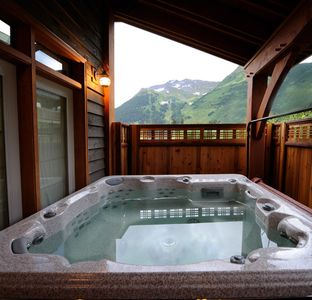 Girdwood house rental - Hot tub with a view of Mt. Alyeska