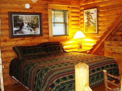 Mackinaw City cabin rental - Open Loft King Bed/Bedroom-Two twins pushed together.