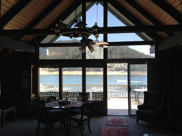 Tulloch Lake house rental - View from Living Room and upstairs Master bedroom