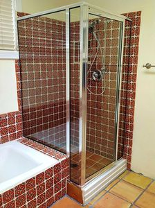 Master bath with shower and separate soaking tub