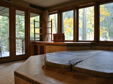 Private hot tub room with view of mountain, access to patio and den.