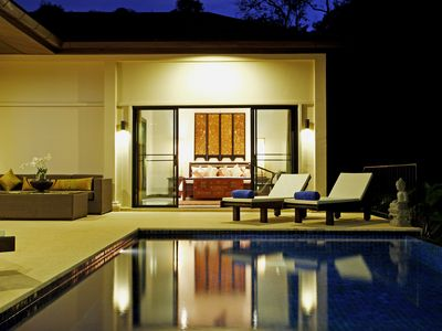 Nai Harn beach villa rental - Pool at night