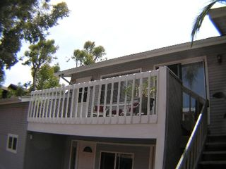 Encinitas apartment photo - Balcony has table and chairs for outdoor dining.