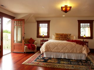 Pacific Grove house photo - Master bedroom with deck and views. King bed that can become twins if needed.