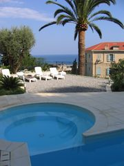 Menton villa photo - Pool and Jacuzzi with view