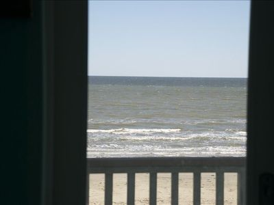 View of the beach off the master bed room balcony