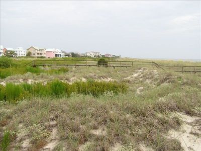 "View of dunes acquired in ""1995 LAND TRANSFER ACT"" for protection of Island"