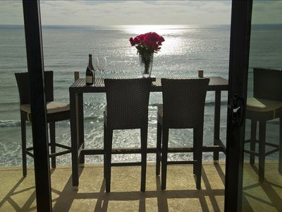 Ocean Front Dining on Balcony.  Enjoy coffee in the morn, dinner at sunset.