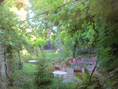 Back yard and summer outside dining room
