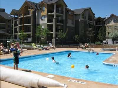 Pool, hot tub and fitness center within complex
