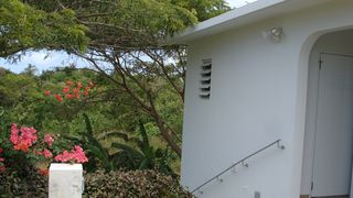 Vieques Island property rental photo - Stairs to the lower bedroom of the Guest House