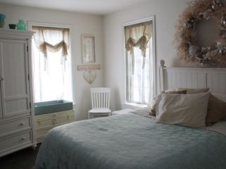 Falmouth estate photo - First Floor Room has a Queen Bed and private bath with double vanity, and a TV.
