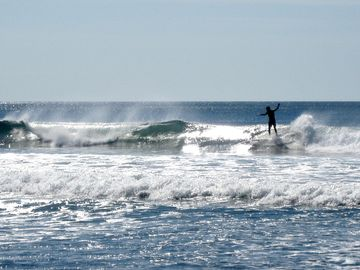 Waves are great for both beginners and advanced surfers