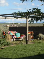 Taos house photo - A View of Front Garden and Bacci/Horseshoes Courts.
