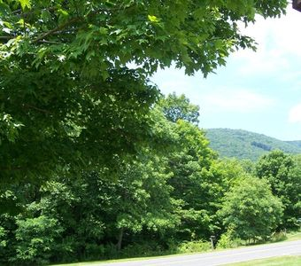 West Jefferson cottage rental - View from house/porch to Bald Mountain towards the west.