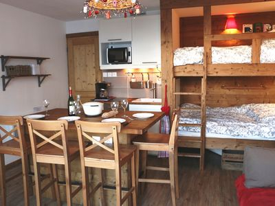 App. Le Corbier 4 pers. Charming and cozy. Start the slopes on skis