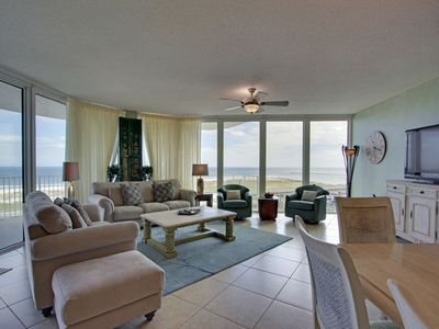 Living room view of the Gulf, beach, entrance to Perdido Bay and Orange Beach.
