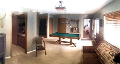 Downstairs den and pool table, game room