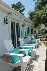 Williamsburg cottage rental - Adirondack chairs lined up waiting for guests to settle in.