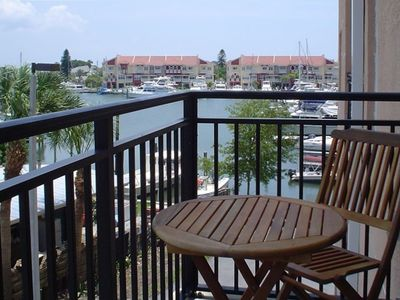 View of Marina from deck off of living room