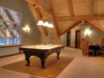 2nd floor game room with pool and card table.