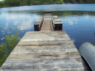 View of dock with bench
