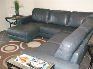 Osage Beach condo photo - Leather sectional in family room